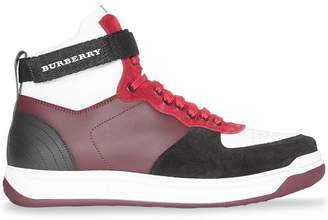Burberry Leather and Suede High-top Sneakers