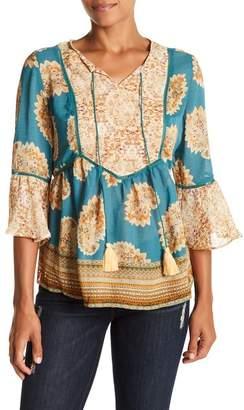 Vintage America Blues Tara 3\u002F4 Sleeve Front Tassel Tie Print Blouse
