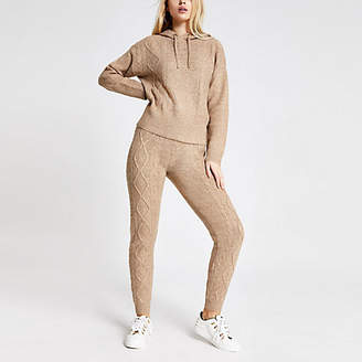 River Island Beige cable knitted joggers