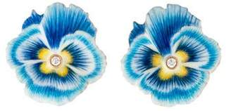 Alison Lou 14K Diamond Pansy Earclip Earrings