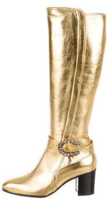 Gucci Dionysus Gold Leather Knee-High Boots