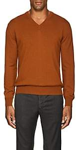 Barneys New York Men's Cashmere V-Neck Sweater-Rust