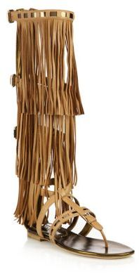Brian Atwood Adriana Fringed Leather Flat Sandals $1,450 thestylecure.com