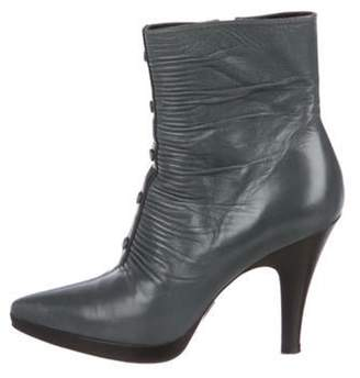 Balenciaga Leather Ankle Boots Blue Leather Ankle Boots