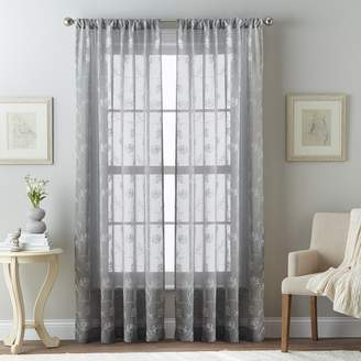 Leaf 1-Panel Embroidered Sheer Curtain
