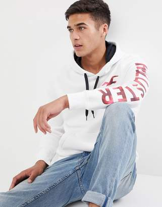 Hollister athletic tech front and sleeve logo hoodie in white