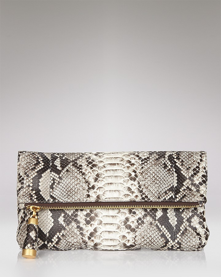 Michael Kors Tonne Python-Embossed Fold-Over Clutch