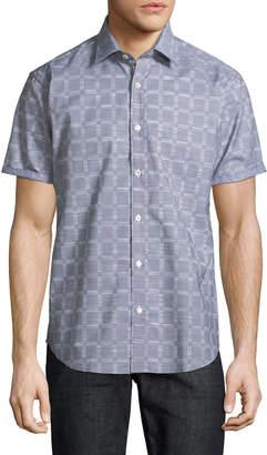 Bugatchi Windowpane Woven Short-Sleeve Sport Shirt