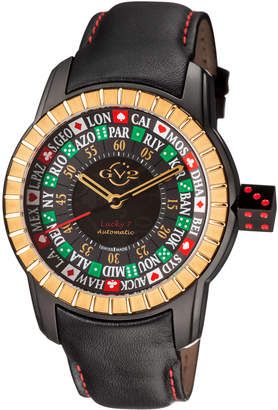 Gv2 Men's Automatic-Self-Wind Lucky 7 Black Leather Strap Watch