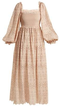Zimmermann Bayou Blouson Broderie Anglaise Cotton Blend Dress - Womens - Nude