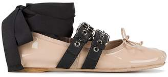Miu Miu buckle and bow ballerinas