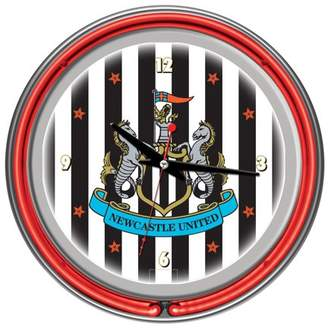 Newcastle United Trademark Global Premier League Chrome Double Rung Neon Clock
