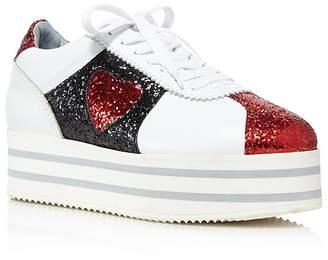 Chiara Ferragni Women's Leather & Glitter Heart Platform Sneakers