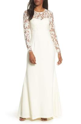 Eliza J Long Sleeve Embroidered Mesh Bodice Trumpet Gown