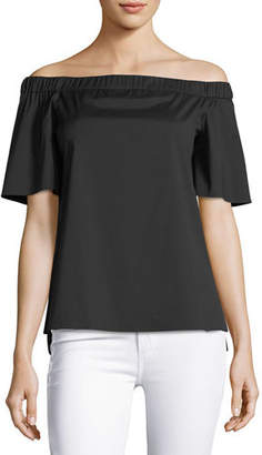Lafayette 148 New York Livvy Short-Sleeve Off-the-Shoulder Stretch-Cotton Blouse