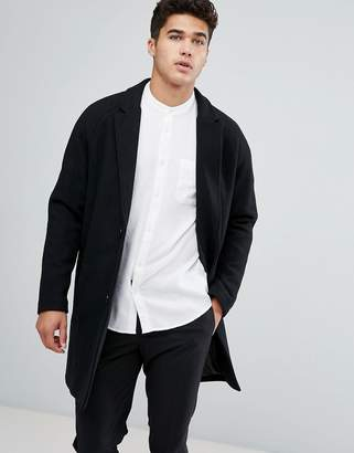 Bershka Smart Overcoat In Black