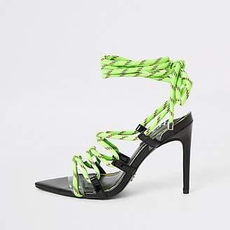 River Island Neon green lace-up skinny heel sandal