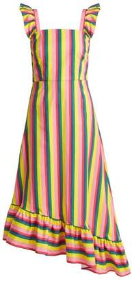 Staud - Valentina Asymmetric Cotton Poplin Dress - Womens - Pink Multi
