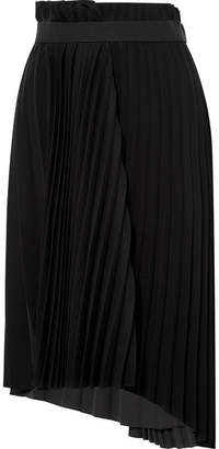 Balenciaga Pleated Crepe Midi Skirt - Black