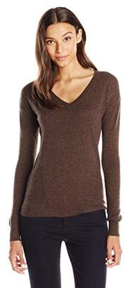 Lark & Ro Women's 100% Cashmere Soft Side-Stitch V-Neck Sweater
