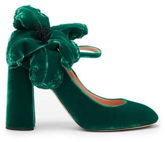 Rochas Embro Flower Applique Mary Jane Velvet Pumps - Womens - Green