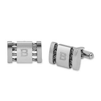 Asstd National Brand Personalized Stainless Steel Cuff Links with Cable Detail