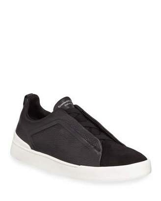 Ermenegildo Zegna Couture Triple-Stitch Leather & Suede Low-Top Sneaker, Black