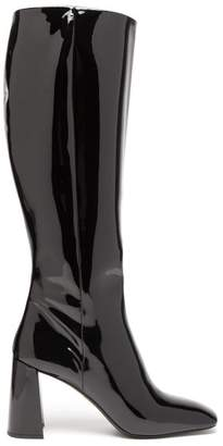 Prada Square Toe Knee High Patent Leather Boots - Womens - Black