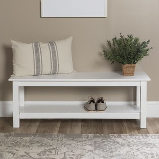 Walker Edison Manor Park Country Entry Bench with Slatted Shelf - White