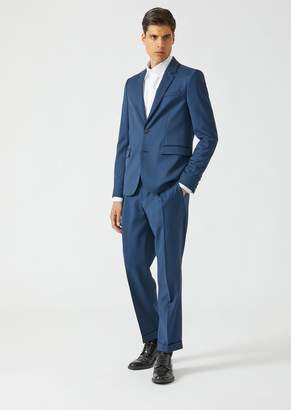 Emporio Armani Lightweight Wool Suit With Single-Breasted Lined Jacket