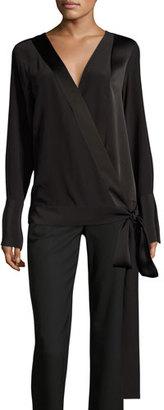 Diane von Furstenberg Silk Crossover Tie Blouse, Black $248 thestylecure.com