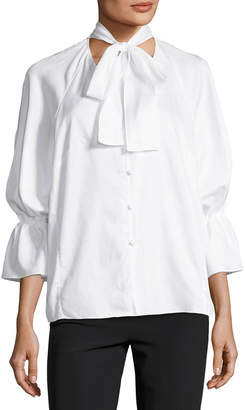 Petersyn Serena Button-Front Poplin Top