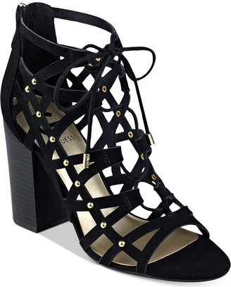 G by GUESS Juto Lace-Up Block-Heel Sandals $69 thestylecure.com