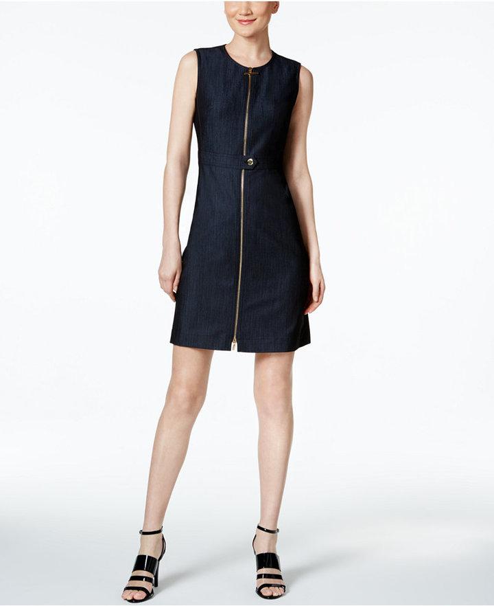 Calvin Klein Zip Front Denim Dress