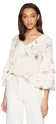 J.o.a. Women's Double V Neck Top With Tiered Ruffle 3/4 Sleeves
