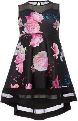 Quiz Curve Black And Pink Floral Print Sweetheart Neck Dress