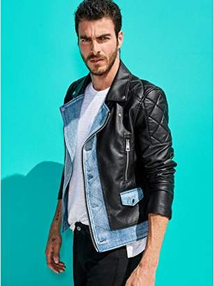 GUESS Men's Long Sleeve Ace Pu Denim Mix Moto Jacket
