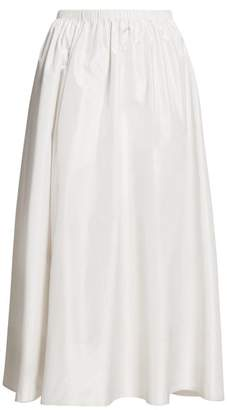 The Row Tilia Taffeta Midi Skirt - Womens - Ivory