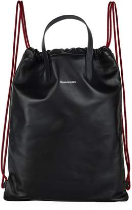 Alexander McQueen Leather Drawstring String Backpack