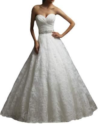 D.W.U Vintage Corset Lace Wedding Dresses with Belt Bridal Gowns US