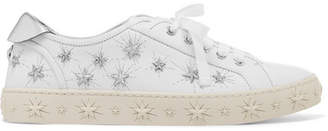 Aquazzura Cosmic Stars Embellished Leather Sneakers - White