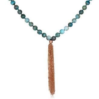 Satya Jewelry Women's Apatite Rose Gold Lotus Mala Tassel Necklace 40-inch
