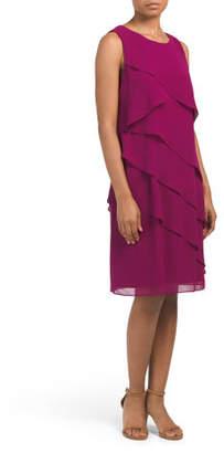 Chiffon Asymmetrical Tiered Dress