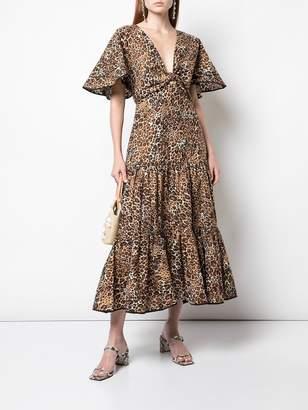 Johanna Ortiz Animal Jewel A-Line Leopard Print Midi Dress
