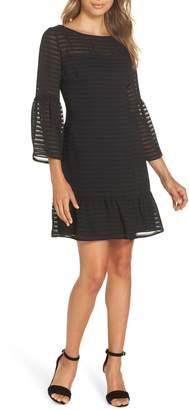 BB Dakota Night Vision Bell Sleeve Tonal Stripe Dress