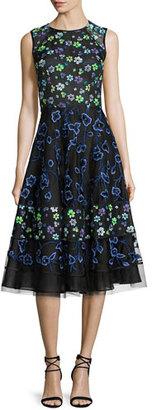 Oscar de la Renta Floral-Embroidered Sleeveless Cocktail Dress, Black/Multi $5,790 thestylecure.com