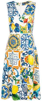 Dolce & Gabbana printed V-neck dress