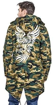 GUESS Men's Long Sleeve Camo Eagle Fishtail Parka