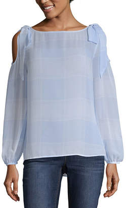 BELLE + SKY Long Sleeve Boat Neck Woven Blouse