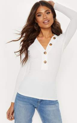 PrettyLittleThing Chocolate Rib Button Plunge Detail Long Sleeve Top
